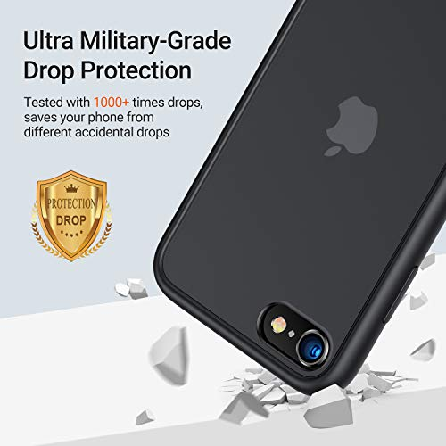 TORRAS Shockproof Compatible for iPhone SE 2020 Case & iPhone 8 Case [Military Grade Drop Test] Translucent Matte Hard…