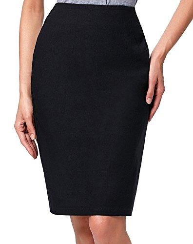 Kate Kasin Slim Fit Knee Length Women Stretchy Comfortable Pencil - Length Knee Skirt Black