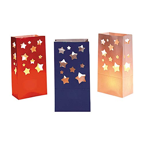 Patriotic Red White and Blue Stars Luminary Bags (36 Pack) for $<!--$12.95-->