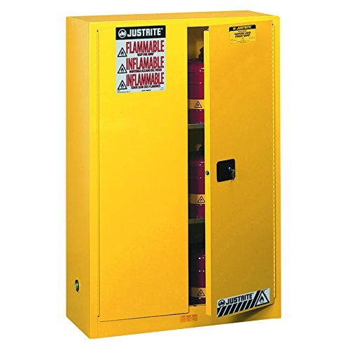 Flammable Liquids Safety Storage - JUSTRITE 894500 Sure-Grip EX Standard Safety Cabinet, 43w x 18d x 65h, Yellow