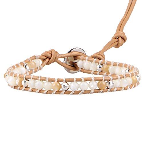 Vintage Mother Pearl Of Bracelet (KELITCH Leather Wrap Bracelet Mother of Pearl Silver Beaded New Women Vintage Bangles (Beige))