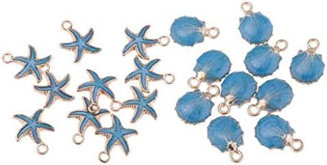 約20個入り 合金 チャーム ペンダント ヒトデ形 スターフィッシュ形 シーシェル形 DIY 装飾品