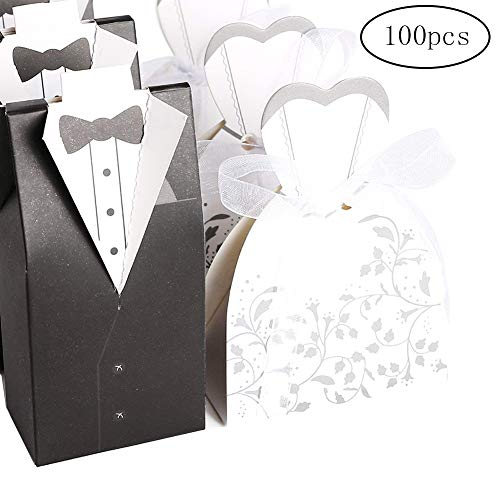 - Wedding Dress&Tuxedo Candy Box 100Pcs Wedding Gift Box Party Favor Paper Box Groom Tuxedo Candy Box
