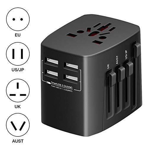 Universal Travel Adapter, Govee International Power Plug Adapter by Minger, 4 USB Charging Ports, All in One Worldwide Wall Charger Converter for USA EU UK AUS Cell Phone Laptop