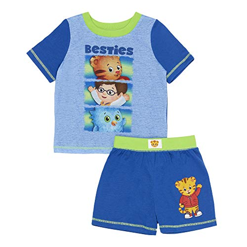 (Daniel Tiger Boys' Toddler 2 Piece Short Pajama Set, Blue Print, 2T)