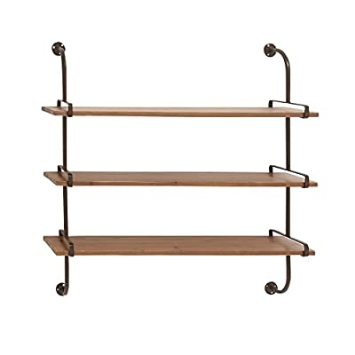"Deco 79 Rustic Wood and Metal 3-Tiered Wall Shelf, 38"" H x 38"" L, Natural Brown Finish - 3-TIERED WALL SHELF - Measuring 38"" H x 28"" L, this wall shelf features three rectangular wooden shelf tops with curved iron supports on each side, offering you a convenient and stylish storage space for your items. Assembly required. SPACE-SAVER DESIGN - This wall shelf sports a three-tiered design for a countless display and storage options without taking up much space in your floor area, a fine addition to rustic-themed settings. STURDY WOOD AND METAL CONSTRUCTION - The wooden shelves ensures durability, while the metal frames provide overall maximum support to the piece when mounted. - wall-shelves, living-room-furniture, living-room - 41fstR93WBL. SS400  -"