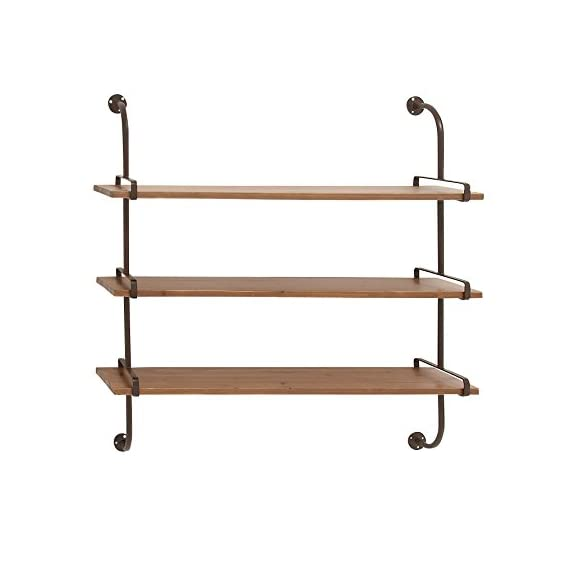 "Deco 79 Rustic Metal 3-Tiered Wall Shelf, 38"" H x 38"" L, Natural Wood Brown Finish - 3-TIERED WALL SHELF - Measuring 38"" H x 28"" L, this wall shelf features three rectangular wooden shelf tops with curved iron supports on each side, offering you a convenient and stylish storage space for your items. Assembly required. SPACE-SAVER DESIGN - This wall shelf sports a three-tiered design for a countless display and storage options without taking up much space in your floor area, a fine addition to rustic-themed settings. STURDY WOOD AND METAL CONSTRUCTION - The wooden shelves ensures durability, while the metal frames provide overall maximum support to the piece when mounted. - wall-shelves, living-room-furniture, living-room - 41fstR93WBL. SS570  -"