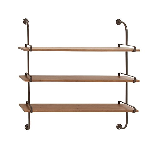 - Deco 79 Rustic Wood and Metal 3-Tiered Wall Shelf, 38