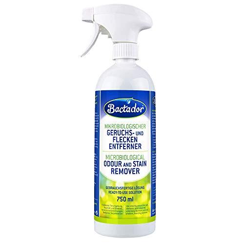 Bactador Geruchsentferner & Fleckenentferner Spray - Biologischer Enzymreiniger als Gebrauchsfertige Lösung gegen Schweiß, Katzenurin, Hundeurin, Tiergerüche - Für Haushalt, Auto & Tierumgebung