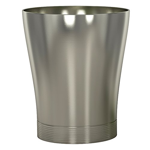 "nu steel SPM8H Special Collection Wastebasket Small Round Vintage Trash Can for Bathroom, Bedroom, Dorm, College, Office, 6"" x 8.5"" x 10"", matt Brushed Pewter Finish"