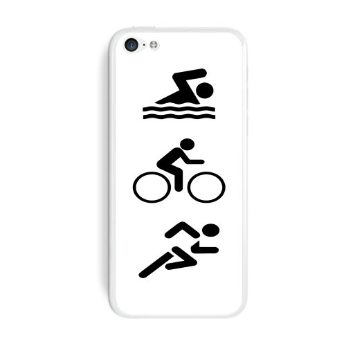 Graphics and More Triathlete Swim Bike Run - Triathlon Protective Skin Sticker Case for Apple iPhone 5C - Set of 2 - Non-Retail Packaging - Opaque