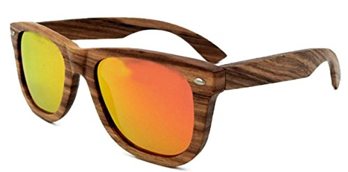 FENGJI Unisex Zebra Wood Sunglasses with Polarized Lens-Striped Zebra Wood Frame (Brown) Length 145mm Color - Zebra Sunglasses Striped