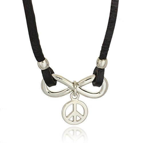 Rhodium Plated Stainless Steel Black Leather Horizontal Infinity Peace Pendant Necklace, 20 inches (Peace Pendant Necklace)