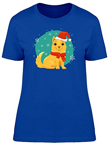 Yellow Dog With Santa Outfit Tee Women's -Image by -