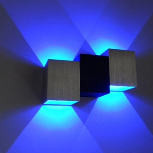 BRILLRAYDO 2W Blue Dimmable LED Indoor Wall Mounted Decorative Aluminum Light Fixture Up/Down Lamp Silver+Black