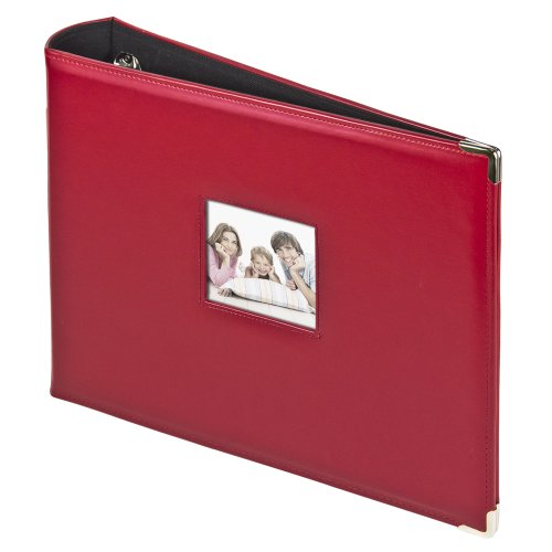 2PO 3-Ring Photo Binder Album With Sewn Leatherette Frame, Acid-Free, 12 x 12 Inserts (Red)