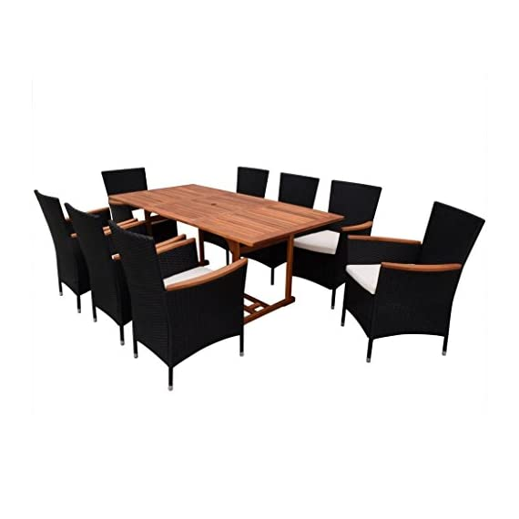 Festnight 9 Piece Outdoor Patio Rattan Wicker Furniture Dining Table Chair Set Black - The dining table is made of high-quality acacia wood, a tropical hardwood, which is weather-resistant and highly durable. Therefore, it is extremely suitable for outdoor use. The dining chairs feature acacia wood armrests. Made of waterproof PE rattan, the dining chairs are lightweight and easy to clean. The powder-coated steel frames and the aluminum feet make the chairs strong and sturdy. - patio-furniture, dining-sets-patio-funiture, patio - 41fsu6fdfKL. SS570  -