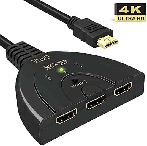 HDMI Switch,GANA 3 Port 4K HDMI Switch 3x1 Switch Splitter with Pigtail Cable Supports Full HD 4K 1080P 3D Player