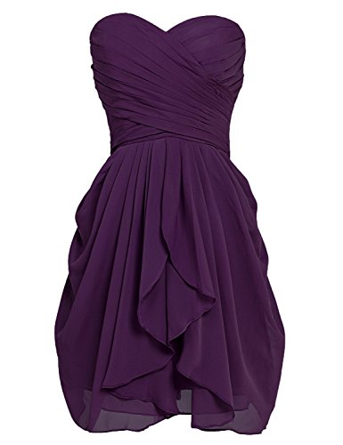 Sarahbrida Junior Prom Dresses 2019 Short Chiffon Sweetheart Wedding Party Gowns Purple US4
