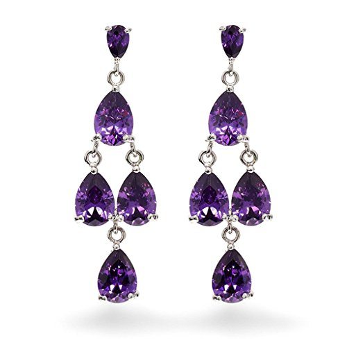 Price comparison product image Aooaz Copper Earrings Womens Earrings Drop Crystal Sharp CZ Rhinestone Dangle Ear Stud Earrings Violet