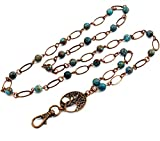 Brenda Elaine Jewelry | Women's Fashion Lanyard Necklace for ID Badge Holders | No Tarnish | Oval and Blue Sky Jasper Pearl Chain with Antique Copper Tree of Life Pendant & No Rear Clasp