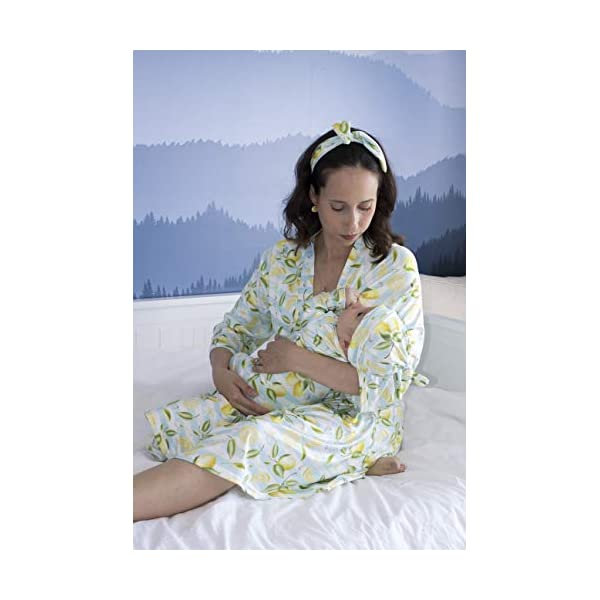 Mommy o' Clock Mommy Robe for Maternity and Baby Swaddle Blanket, Milk Silk Matching Delivery Robe and Swaddling Wrap for Mom and Baby (S/M (0-12), Aqua Lemon Set)