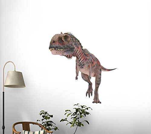 Red Majungasaurus Walking Peel and Stick Fabric Wall Sticker by Wallmonkeys Wall Decals - 24 Inches H x 24 Inches W