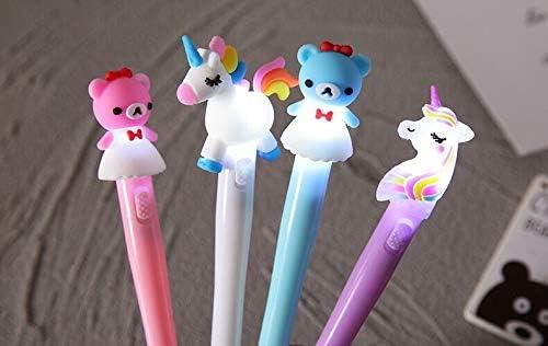 4 pieces Gel Pen Unicorn LED Light Pens Student Gift Stationery pen set