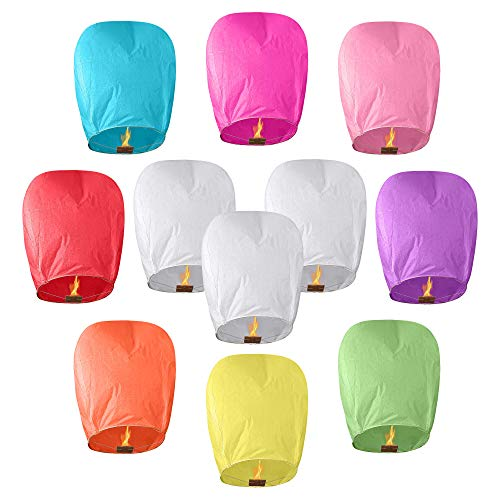 All Natural Shop 11 Pack Chinese Sky Lanterns - Eco Friendly, 100% Biodegradable. Wire-Free Paper Japanese Prime Lantern to Release in Sky.