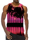 Mens Red Palm Tree Beach Tank Top 3D Print Gym Undershirts Novelty Sleeveless Loose Fit Hawaiian Tropic Pattern Casual Teen Boys Vest Tee Clothing M