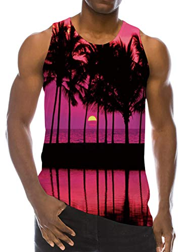 Men Tank Top Red Palm Tree Beach Casual Summer Young Juniors Sleeveless Workout Sportwear Funny Hawaiian Vacation Shirt Vest Top Tee T Shirts S