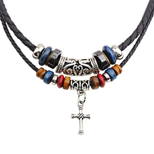 MORE FUN Vintage Style Double Layers Black Braided Leather Tribal Necklace with Charm Cross Pendant (Cross)