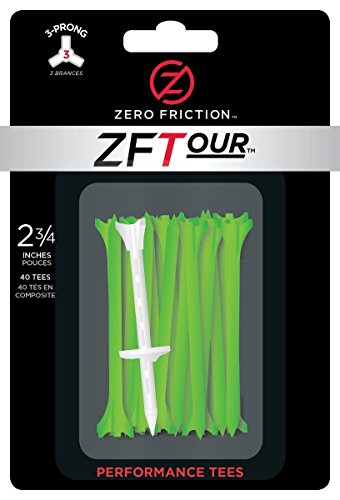 Zero Friction Tour 3-Prong Golf Tees (3-1/4 Inch, Citrus Green, Pack of 30) (A On Ball Tee Golf)