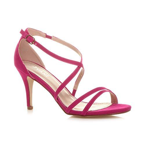 56bf56d8638edb Sandales Mariage Femmes Fushia Daim Moyen Haut Chaussures Croisé Rose Bal  Lanières Talon Taille wgXgqrU0