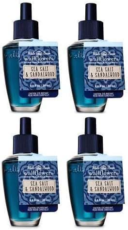 Bath and Body Works 4 Pack Sea Salt and Sandalwood Wallflowers Fragrance Refill. 0.8 fl oz.