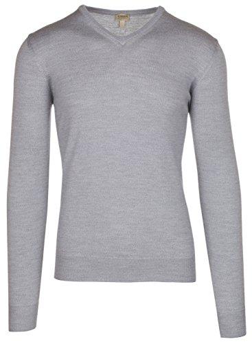 (Armani Collezioni Men's Gray 100% Wool Pullover Knitwear V-Neck Sweater, EU 54 / US XL,)