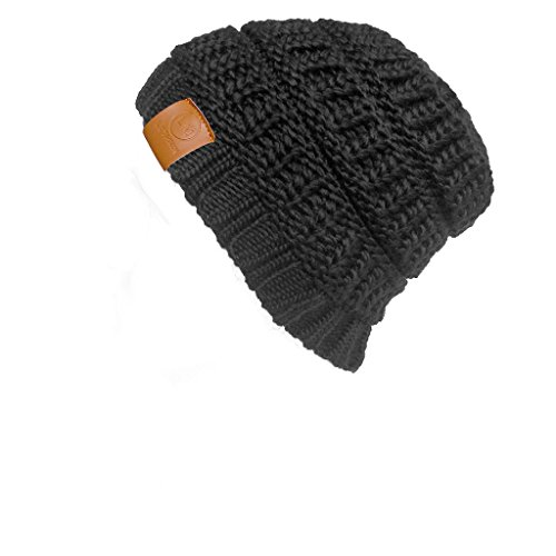 LETHMIK Trendy Warm Beanie Solid Color Unisex Knit Beanie Hat Skully with 3 Colors Black