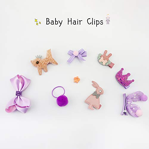 42 Pieces Pack Baby Girl\'s Bows Fully Lined Hair Clips Baby Hair Ties Ponytail Holders for Little Girls and Teens Toddlers, Assorted Styles Clips for Girls
