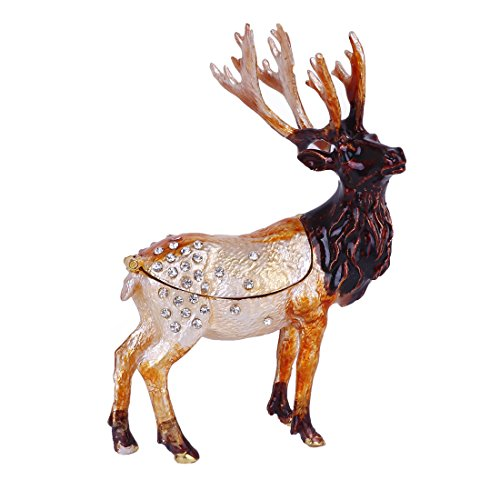 - MICG Christmas Deer Trinket Box Hinged for Girls Animal Figurine Collectible Wedding Ring Holder Favor Metal Table Centerpiece