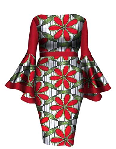 African Print Jaycargogo Dress Cocktail Pencil Sexy Sleeve Flare Women Red TE5q5w4