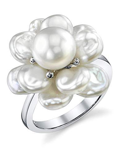 THE PEARL SOURCE Keshi Genuine White Freshwater Cultured Pearl Ring for Women