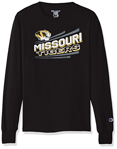 NCAA Missouri Tigers Youth Boys Long sleeve Jersey Tee, Large, black