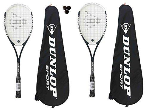 2 x Dunlop Hotmelt Pro Squash Rackets + 3 Dunlop Pro Squash Balls