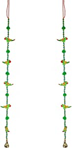 Aditri Creation •Set of 2 Indian Traditional Door Hanging 5 Wooden Birds Tota Parrot String with Bell, Decoration for Home Wall Temple Bedroom Kids Room Décor, Gifting (Size :- 30