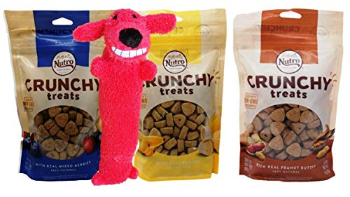 Nutro All Natural Crunchy Training Treats for Dogs 3 Flavor Variety Plus Toy Bundle, 1 Each: Mixed Berries, Banana, Peanut Butter (10 Ounces)
