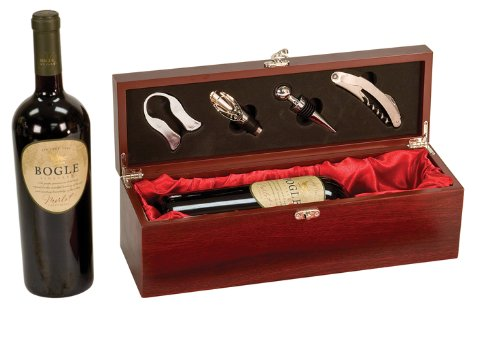 (Rosewood Finish Single Wine Box with Tools)