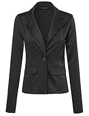 Awesome21 Women's 3/4 shirring sleeve Good Stretchy Comfy jacket Blazer