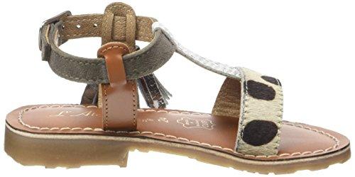 L'ATELIER TROPEZIEN Sandales Tricolore Pompom - Zapatos de primeros pasos Bebé-Niños Multicolore (Leopard Pony / White Grey)