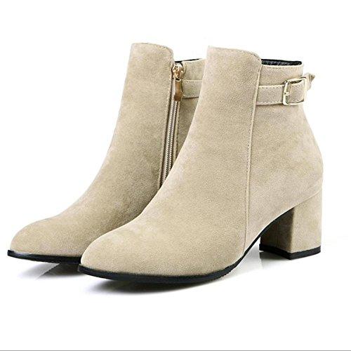 antideslizante 37 talón XIAOGANG desgaste afilado hebilla moda HFour cortas Seasons Beige resistente de Women cinturón de H botas negro beige goma gris de al 11nxpRrg7q