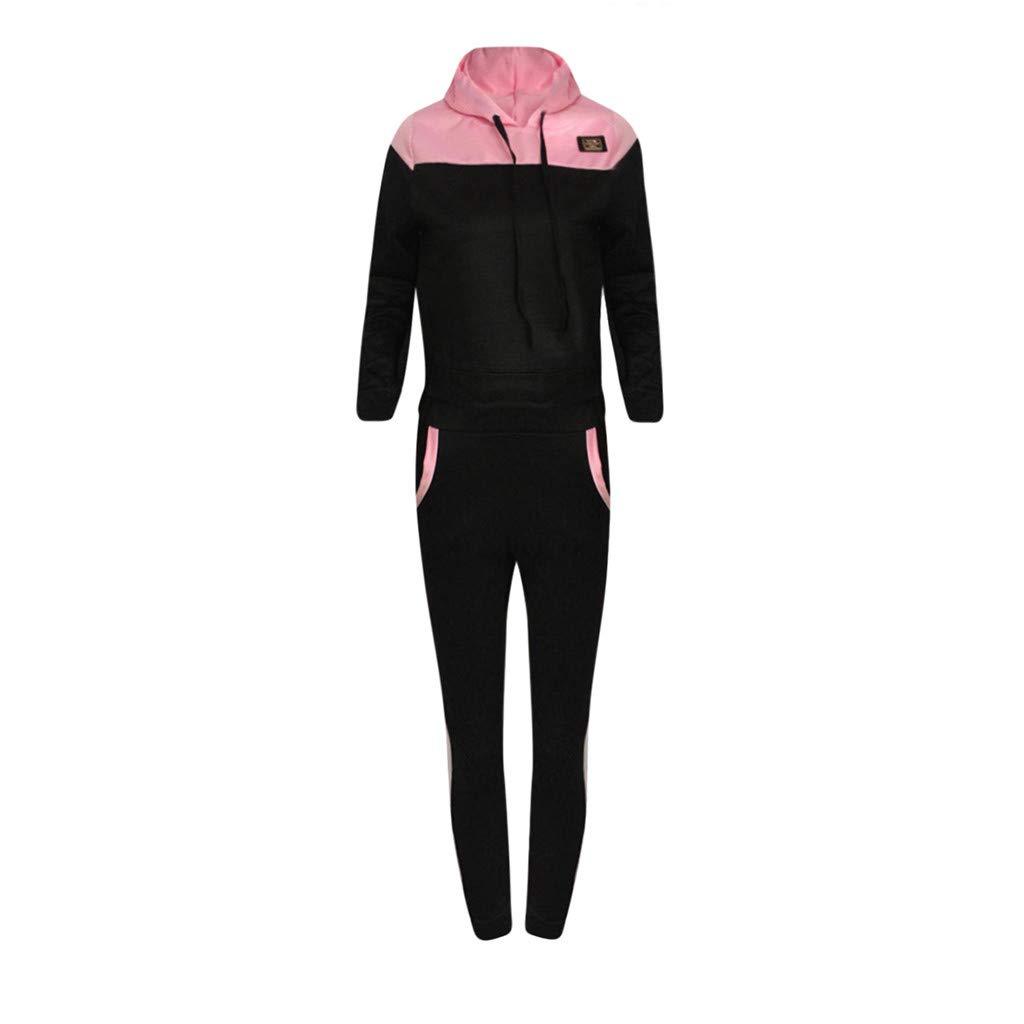Fashion Women Casual Splice mesh Sweatshirt Hoodie Hooded Long Sleeves Sport Hoodies Tracksuit Tops+Long Pants Set by iLUGU (Image #5)